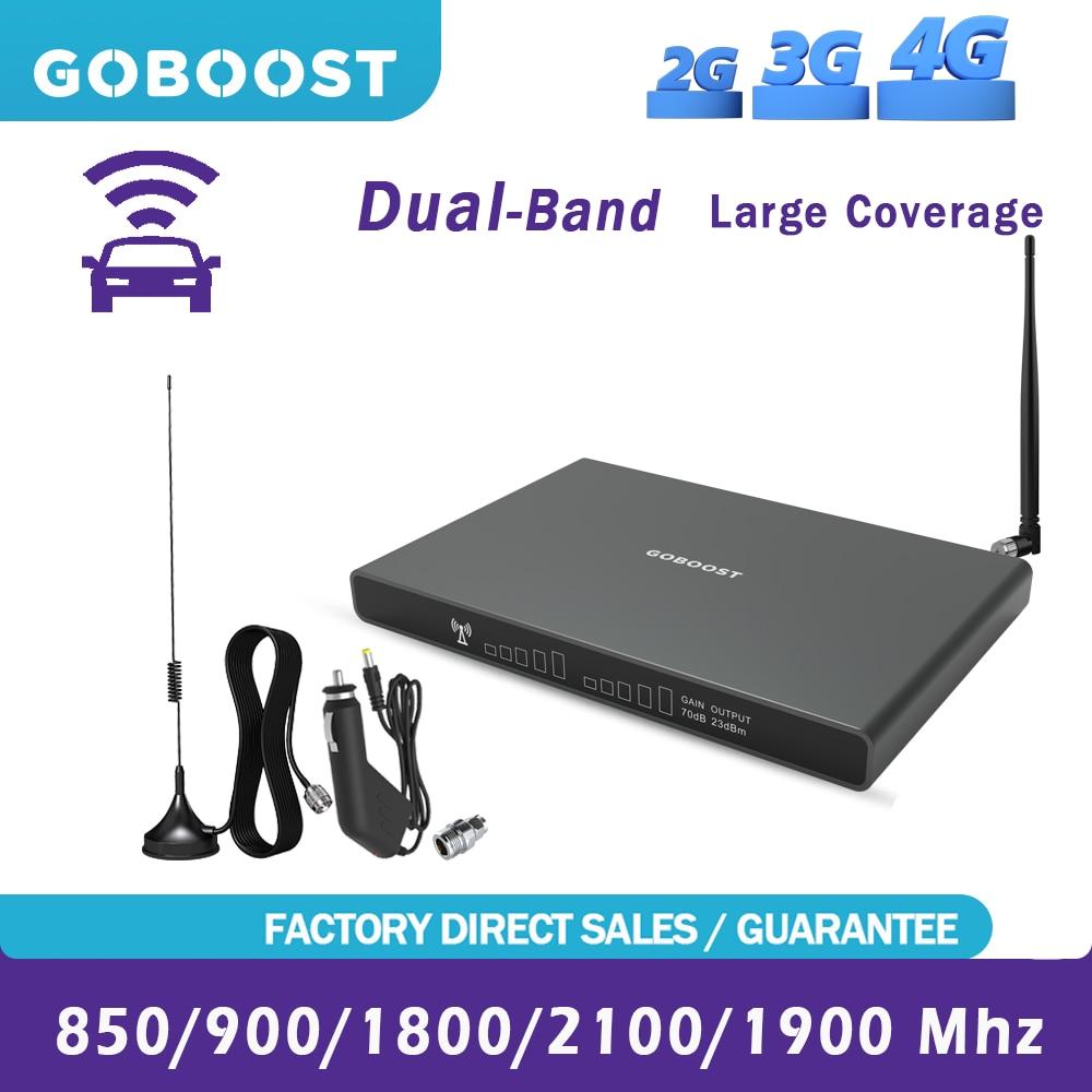 Автомобильный усилитель сотовой связи GOBOOST, двухдиапазонный ретранслятор 2G 3G 4G 850 1800 GSM 900, усилитель сигнала LTE 1900, сетевая антенна, полный ко...