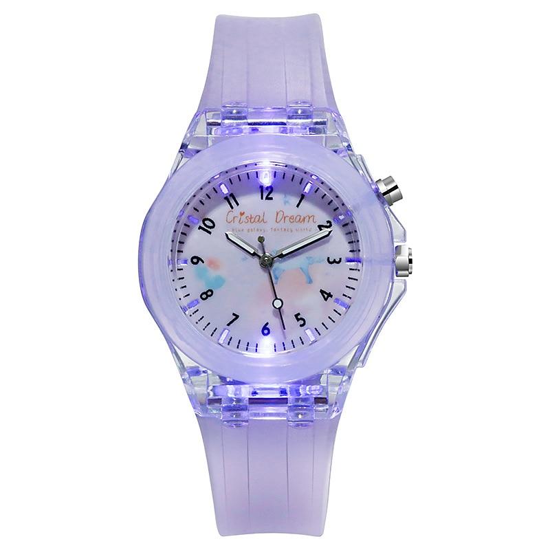 Cristal Dream Pupils Childrens Luminous Silicone Strap Watch Cute Cartoon Flash Quartz Kids Boy Girl Birthday Clock Hour