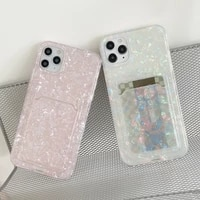 card bag pearl marble phone cases for iphone 12 mini 11 pro xs max x xr se 2020 8 7 plus case silicone soft tpu back cover