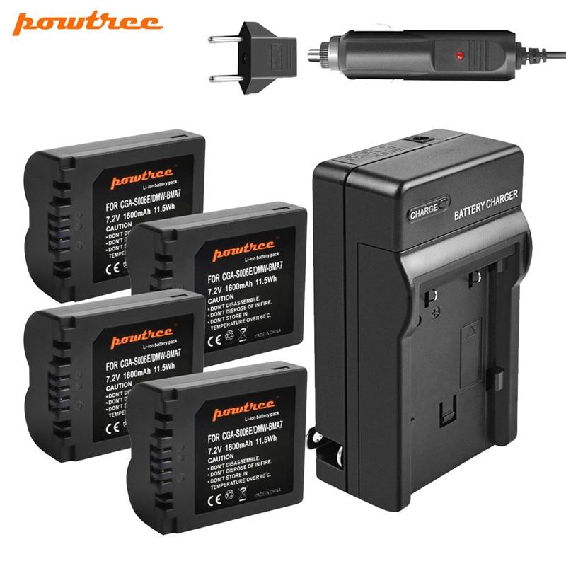 CGA-S006 Powtree 1600mAh Substituição Da Bateria + Carregador para Panasonic Lumix CGA S006 DMC-FZ28 DMC-FZ7 DMC-FZ8, FZ50, FZ8K, FZ28K