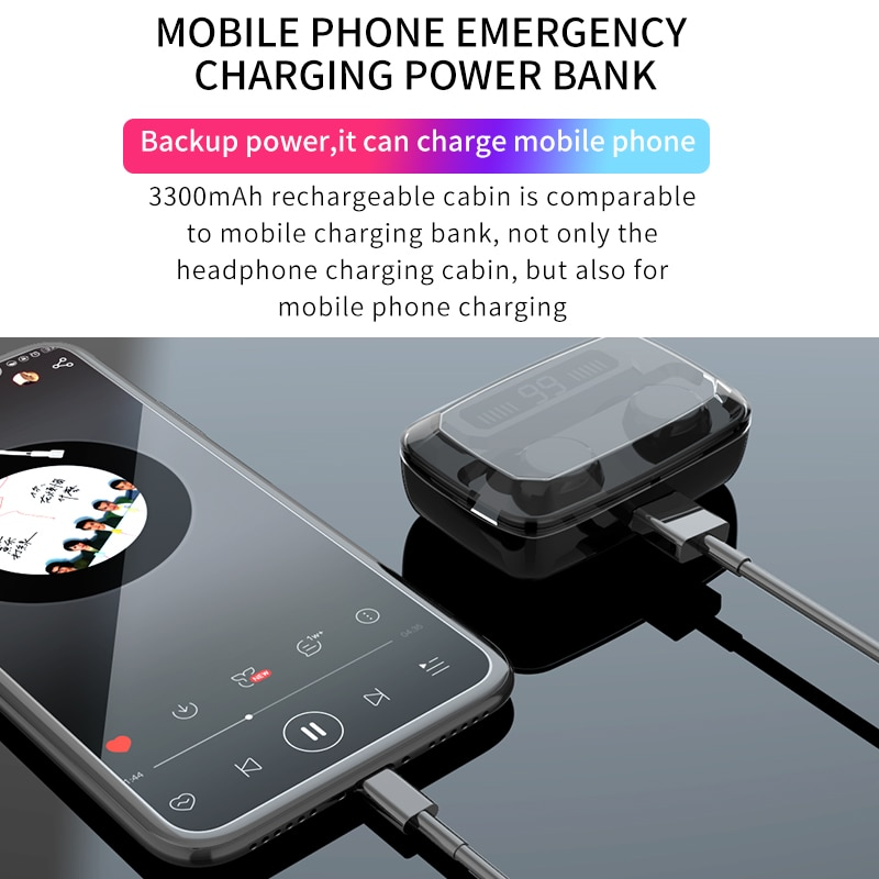 3500mAh Wireless Earphones Bluetooth-Compatible V5.0 TWS Wireless Headphones LED Display With Power Bank Headset With Microphone enlarge