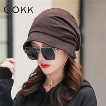 COKK-Bonnet Turban pour femmes   Bonnet, Bonnet femme Baggy, Bonnet dhiver, coupe-vent, protection doreilles, Gorro, automne hiver
