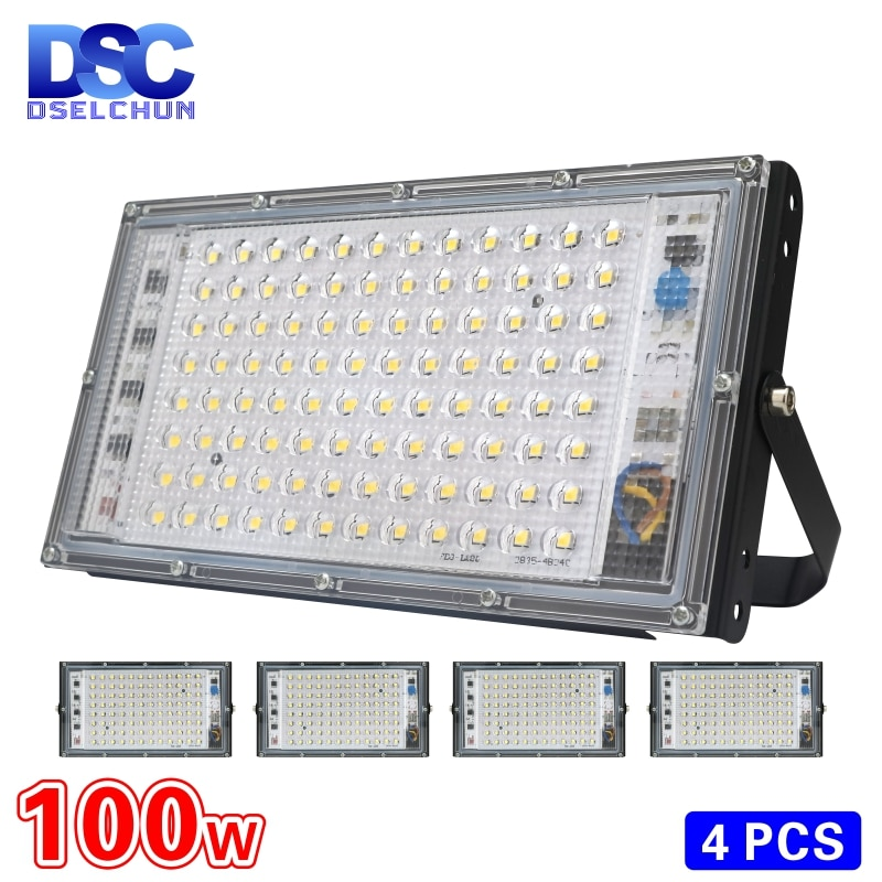 4pcs/lot 100W Led Flood Light AC 220V 230V 240V Outdoor Floodlight Spotlight IP65 Waterproof LED Street Lamp Landscape Lighting
