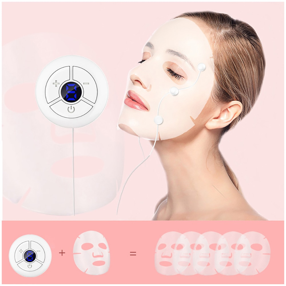 EMS Microcurrents Mask Absorb Device for Face Beauty Skin Care Tightening Lifting Rejuvenation Vibration Wrinkle Remover Tool