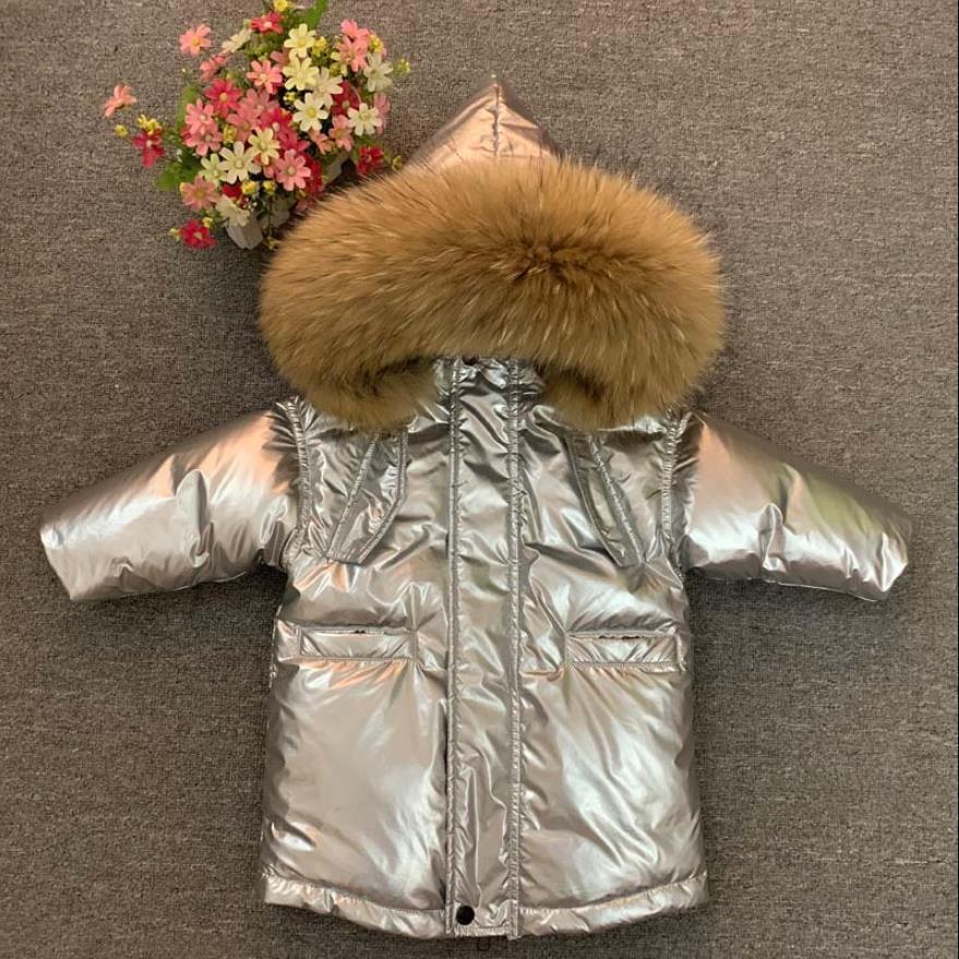 Rusia invierno-30 grados, bebé y niños Gran collar piel real chaquetas de los niños más terciopelo espesar abrigos niños tops noticias
