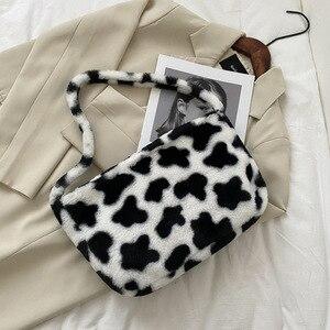 Fashion Cow Pattern Plush Women Shoulder Messenger Bag Animal Pattern Faux Fur Bags for Women 2020 Fluffy Female Totes Handbag