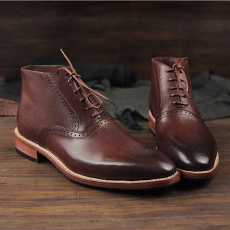 Sipriks Itlian اليدوية جوديير جلد الصوف الأحذية للرجال خمر جلد إبقاء أحر الشتاء التمهيد براون الأسود Oxofrds الأحذية 46