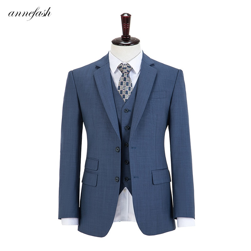 الصوف الصوف الأزرق منقوشة تويد الرجال البدلة مخصص الرجعية الرجال الزفاف السترة دعوى 3 قطعة