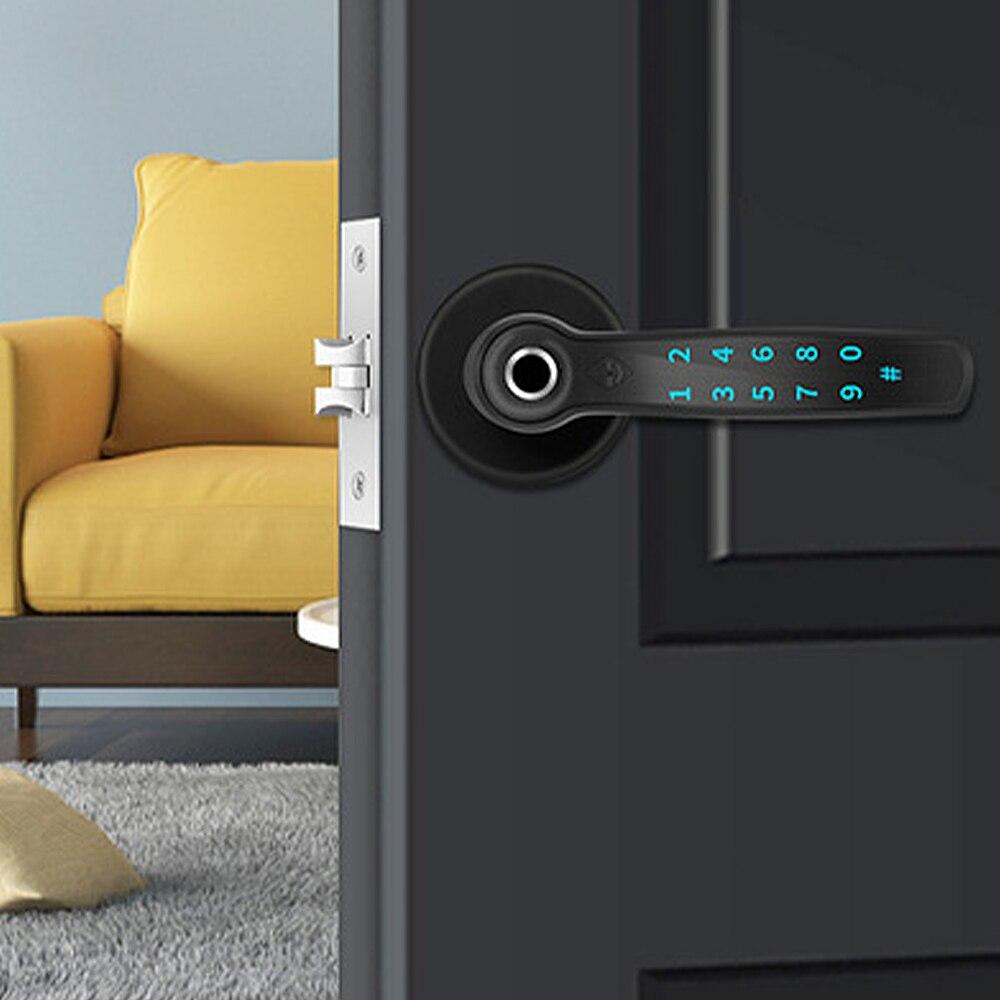 الكهربائية AI صوت الأمر قفل باب ذكي بصمة إصبع رقمية بلوتوث قفل أمان للأبواب للمنزل فندق الشقق مكتب