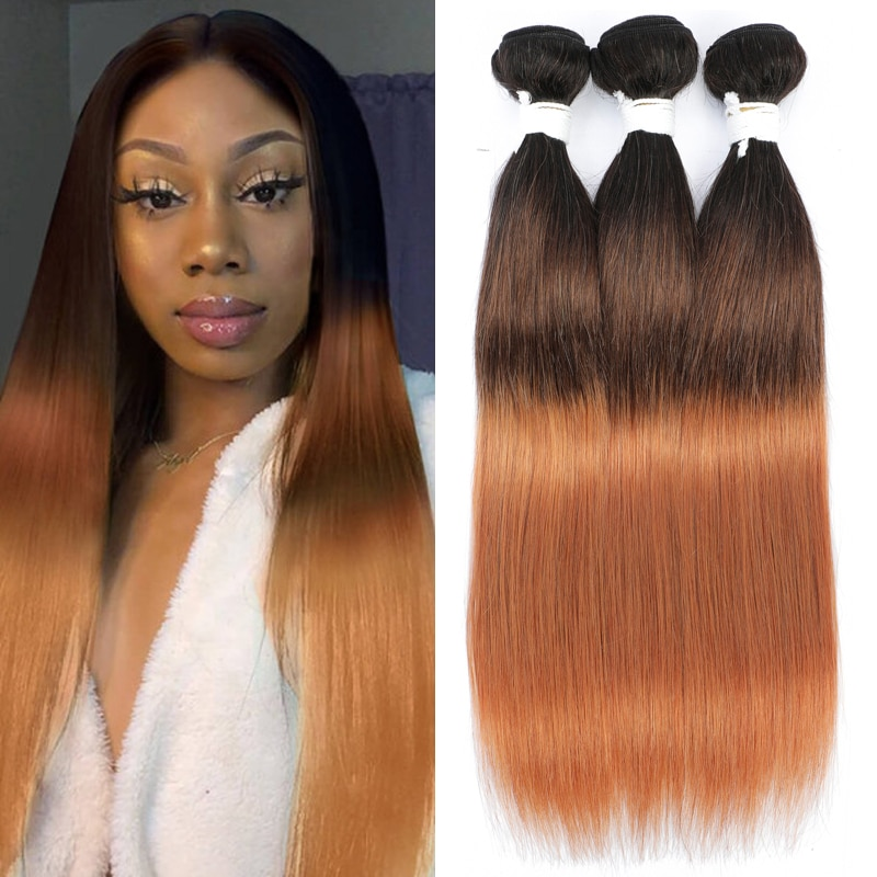 Brazilian Straight Human Hair Bundles Ombre Brown 1B/4/30 Human Hair Weave Bundles Remy Hair Bundles 1/3/4 Bundle Deals KEMY