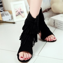 Novedad de verano, sandalias a la moda para mujer, sandalias de Punta abierta, zapatos de mujer de talla grande con borla personalizados, sandalias largas
