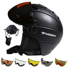Lune Ski casque hiver Sports de plein air hommes femmes Ski casques Ski Snowboard neige Skateboard casque avec lunettes Glasse visière