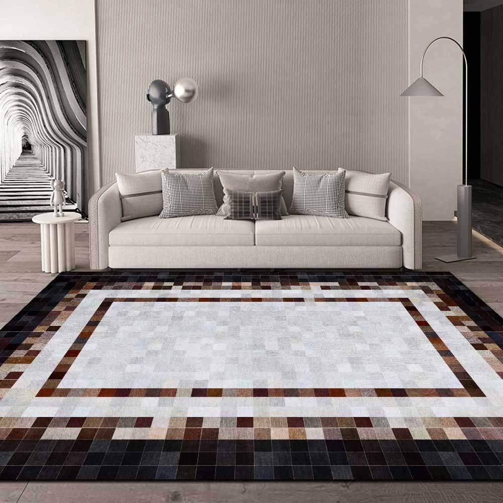 سجادة أرضية عصرية من الجلد المقلد بإطار مربع ، بني ، أسود ، لغرفة المعيشة ، غرفة النوم ، اللوح الأمامي ، 200 × 300 سنتيمتر