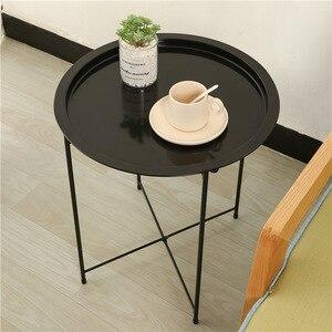 Vouwen Metalen Waterdichte Kleine Salontafel Bank Bijzettafel Met Uitneembare Tray Bistro Coffee Table Outdoor Furniture