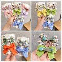 2 piecesset floral bow children hairpin kids headdress printed side bangs clip fashion hair accessories women 2021 spring