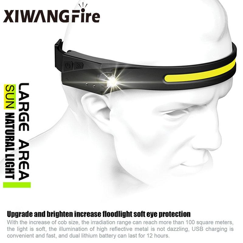 COB LED Headlamp Sensor Headlight with Built-in Battery Flashlight USB Rechargeable Head Lamp Torch 5 Lighting Modes Work Light