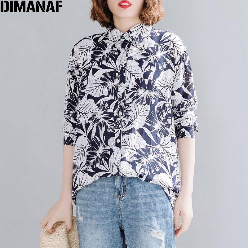 Dimanaf plus size blusa feminina camisas vintage elegante senhora topos túnica casual solto imprimir manga comprida botão cardigan 2020 verão