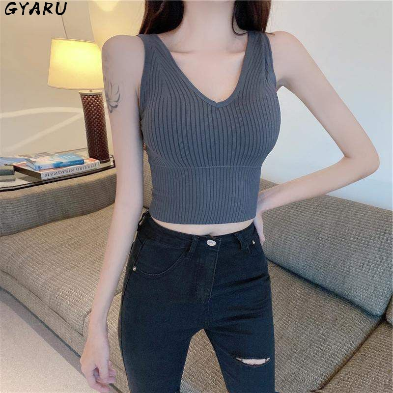 GYARU Yoga Bra Solid Color Outer Wear Vest Female V-Neck No Steel Ring Sexy Big Breasts Wild Beauty