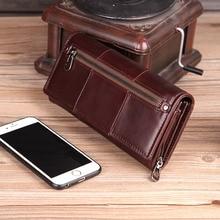 Cobbler Legend Long portefeuille en cuir véritable femmes 2019 porte-cartes femme sac à main avec fermeture éclair avec sac de téléphone grand Valet Carteira