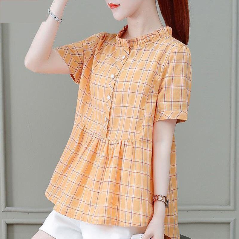 Moda mujer primavera verano estilo blusas mujeres Casual manga corta Stand Collar Rosa naranja Color tartán camisa mujeres Tops DF3604