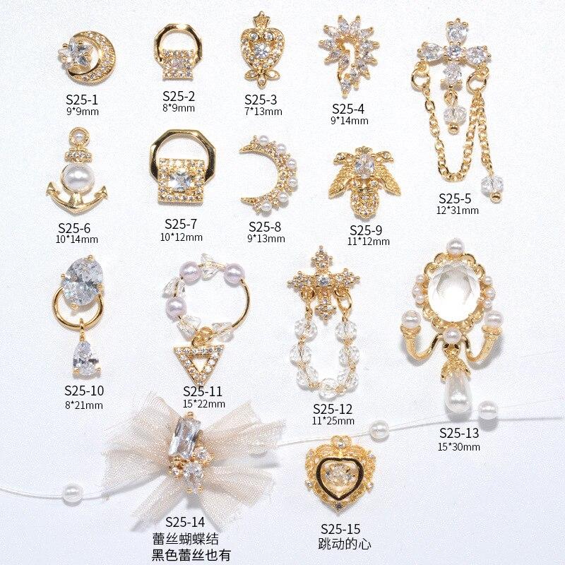 Ювелирные изделия для дизайна ногтей, ювелирные изделия из бриллиантов, новинка, кружевная жемчужная цепочка с блестящим цирконием, аксесс...
