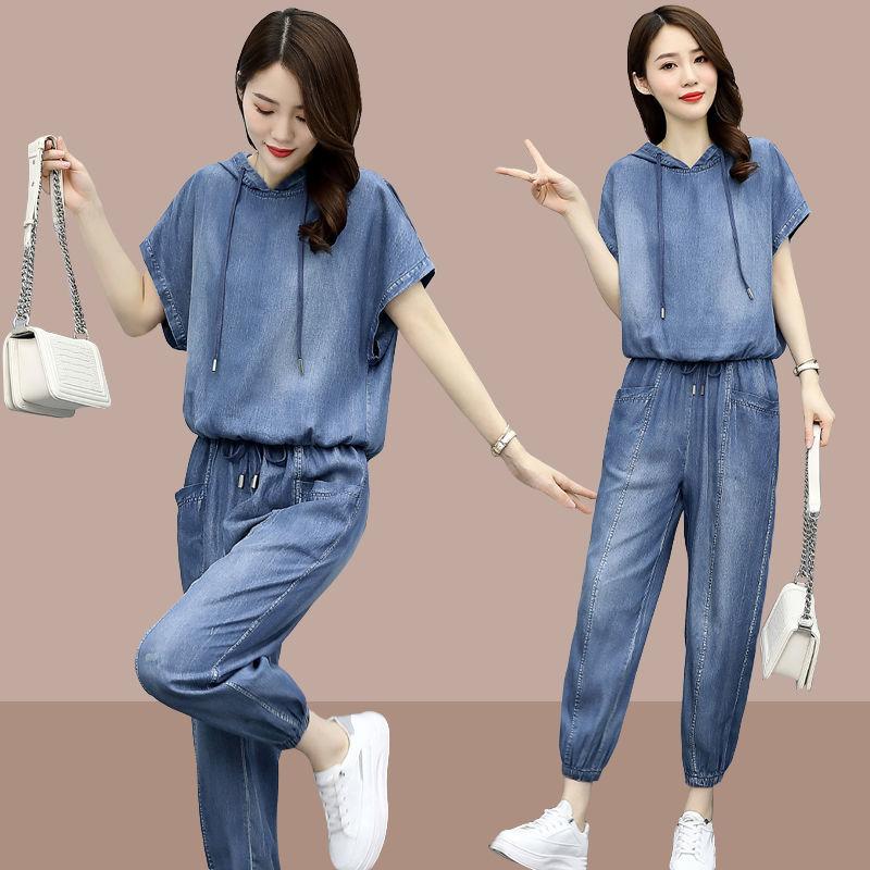 المرأة الصيف كاوبوي البدلة 2021 جديد الإناث الصيف ملابس رياضية عصرية النسخة الكورية الدنيم مجموعة فضفاضة السراويل حجم كبير قطعتين دعوى