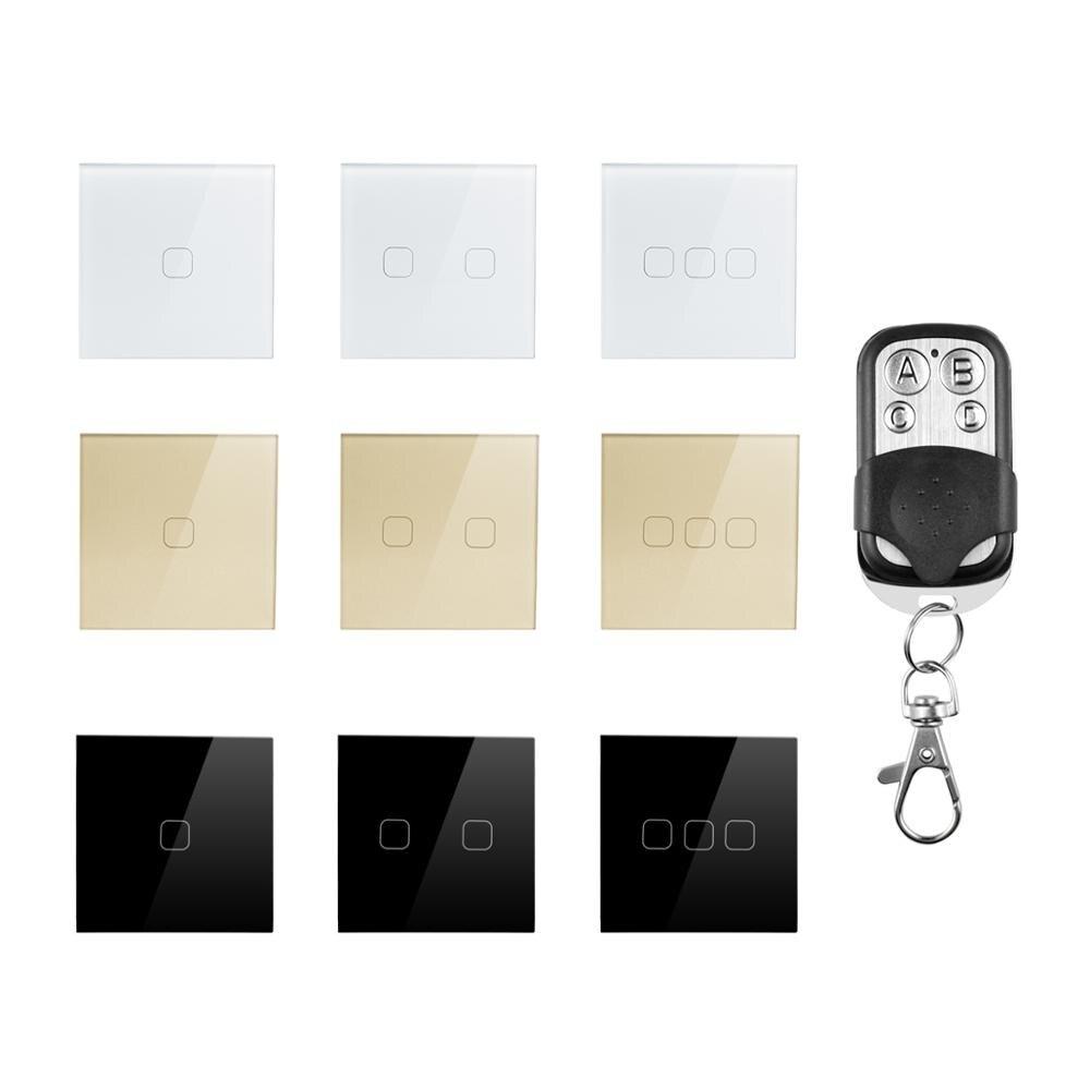 Interruptor inteligente de pared con interruptor táctil, 1, 2, 3 entradas, 1 vía, 220V, estándar europeo/británico, a prueba de agua, Control remoto inalámbrico