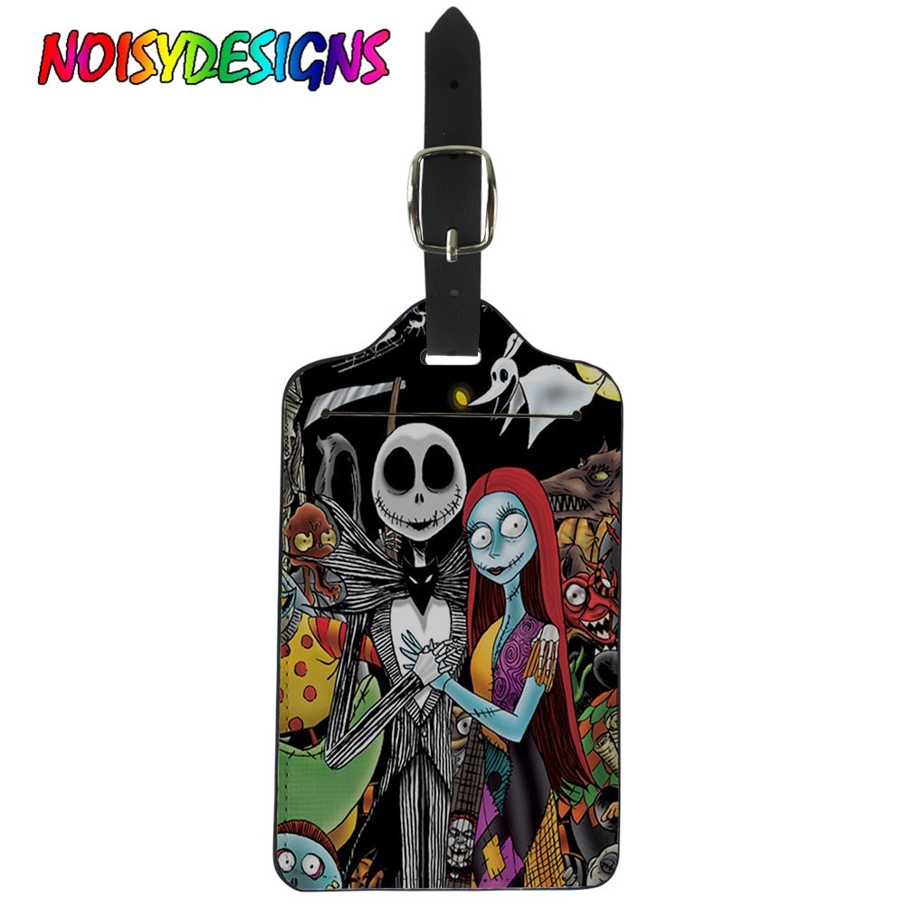 new fashion aluminium metal travel luggage tag baggage suitcase bag name address id label NOISYDESIGNS Suitcase Luggage Tag Label Bag Handbag The Nightmare Before Christmas Prints Travel Accessories Name ID Address Tag