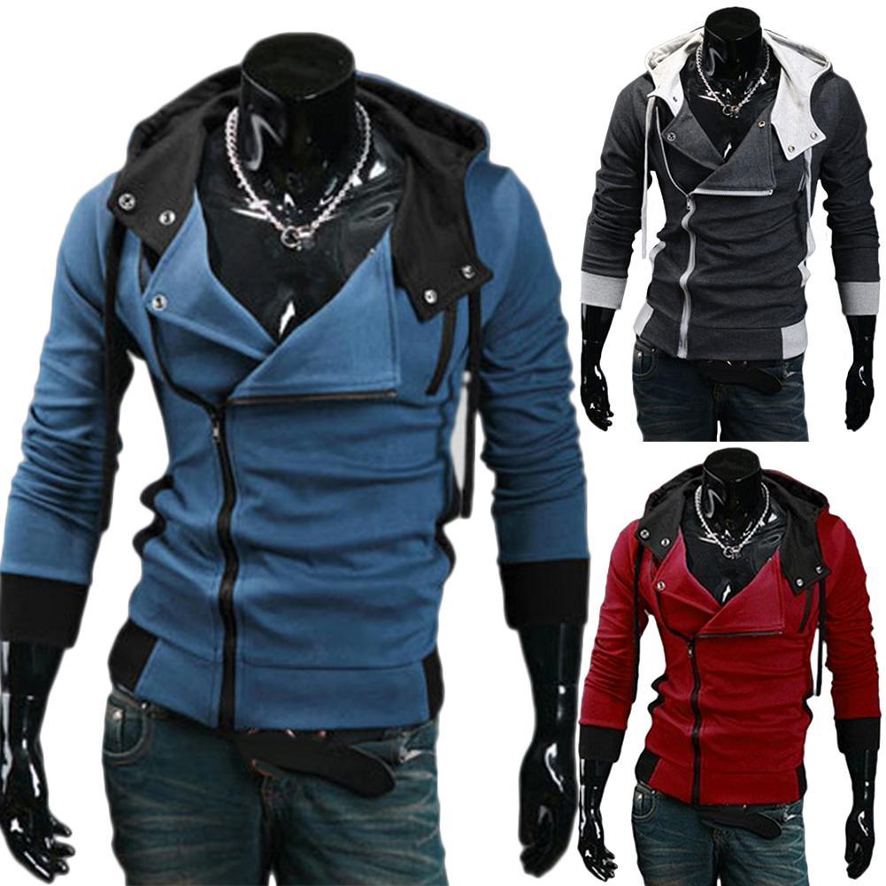 Abrigo deportivo holgado de talla grande para hombre, de manga larga, con Diagonal, cremallera y cordón ajustable