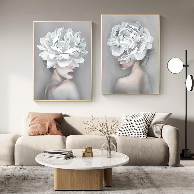 Flor branca menina mulher cartazes e cópias nordic figura pintura da lona meninas arte da parede flor fotos para sala de estar quarto
