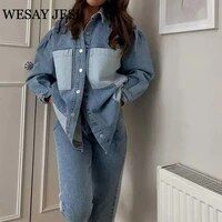wesay jesi womens autumn jacket vintage long sleeve single breasted denim jacket woman high street pockets stitching chic coats