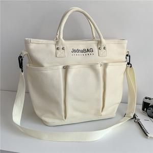 Boutique Women's Canvas Shoulder Bag Casual Large Capacity Tote Handbag Girl's Student Schoolbag Lady Big Crossbody Bag Shopper