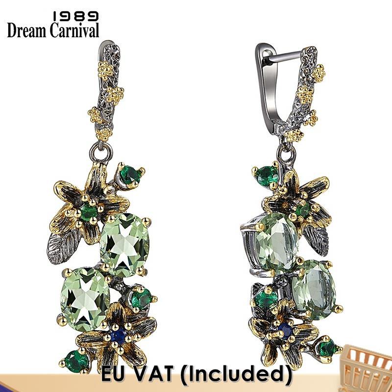 DreamCarnival-أقراط نسائية عتيقة ، 1989 ، نمط زهرة عتيقة ، لونين ، مجوهرات زركونيا خضراء ، انخفاض الشحن ، WE3874
