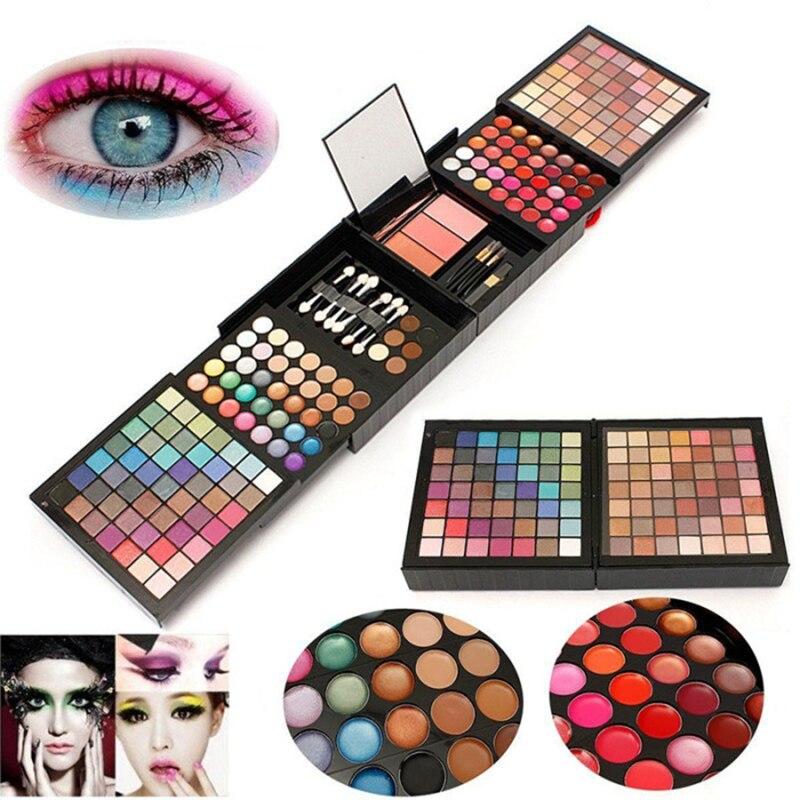Paleta de sombras de ojos, 177 colores, sombra de ojos + brillo de labios + rubor + corrector + contorno + Kit de maquillaje cepillo