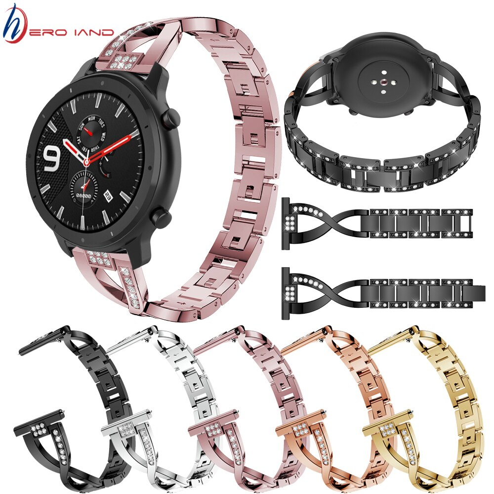 22mm bracelet strap for xiaomi huami amazfit pace stratos 2 gtr 47mm band for samsung gear s3 pulsera for huawei 2 pro gt correa 20 22mm Metal Steel Bracelet for Huami Amazfit Pace Stratos 2 Band for AMAZFIT GTS GTR 42MM 47MM Watchband Gear S3 S2 Strap Belt