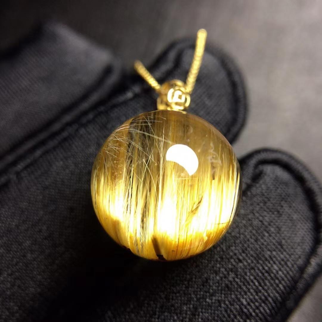 Review Natural Gold Rutilated Quartz Sphere Ball Round Pendant Brazil 13.4mm 18K Gold Wealthy Stone Women Men Jewelry Genuine AAAAAA