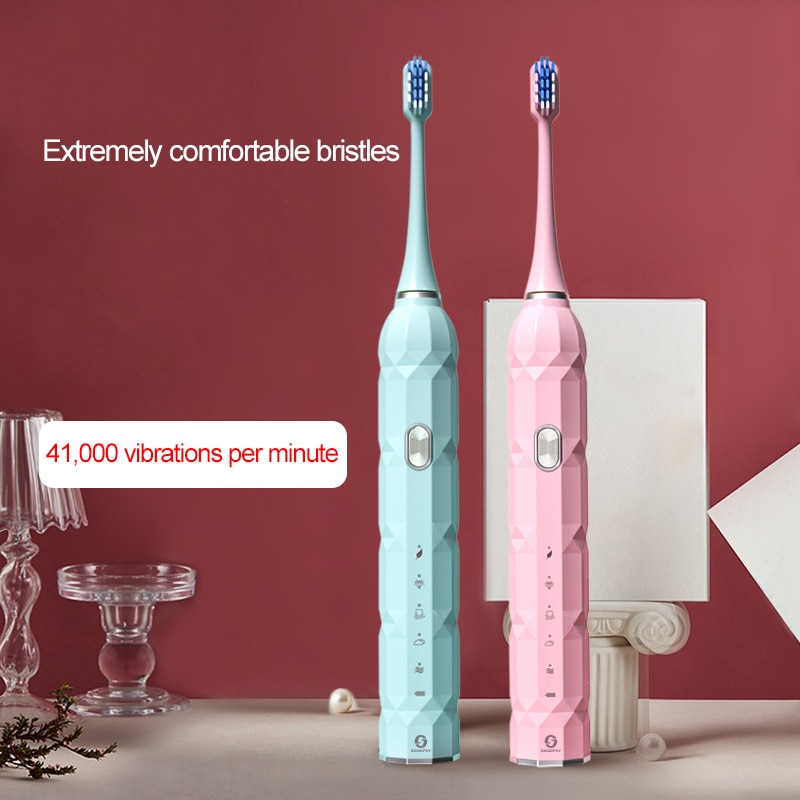 Sonic Electric Toothbrush Soft Bristles Adult IPX7 Waterproof Couple style Fast Charge Equipped With 5 Brush Heads