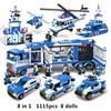 1115pcs 8IN1 SWAT עיר משטרת משאית רכב אבני בניין תואם Lepin עיר משטרת תחנת לבני צעצועי לבנים ילדים