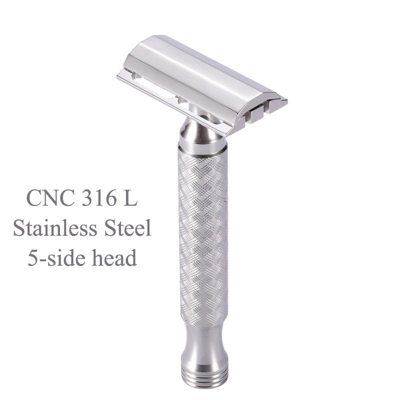 Lâmina de Segurança Inoxidável Borda Dupla 5 Lados Cabeça Metal Manual Barbeador Cnc 316l Aço