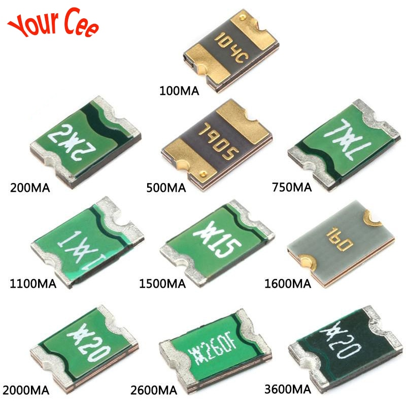 20 piezas 1812 0.05A 0.1A/0.2A/0.5A/0.75A/1.1A/1.5A/1.6A/2A/2.6A/3A/3.5A SMD fusible reajustable PPTC PolySwitch auto-recuperación fusible SMD