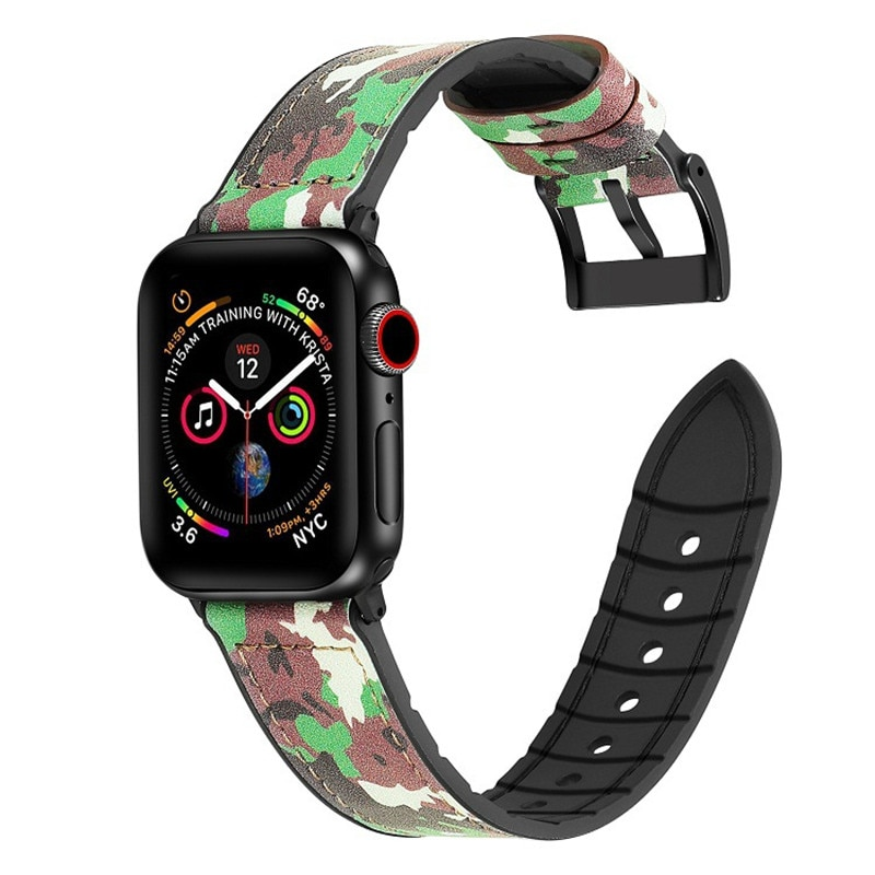 Deportes de camuflaje TPU correa de reloj Apple Watch banda/40/44mm serie 5 4 3 2 1 Floral pulsera con estampado para iWatch banda 38mm 42mm Accesorios