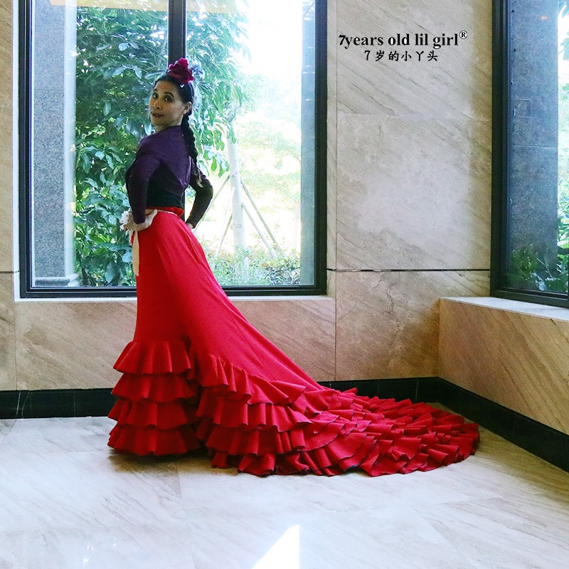 الفتيات اللباس الفلامنكو الأسبانية القطن النساء قاعة الفالس الرقص ازياء فوكستروت ارتداء CWQ04