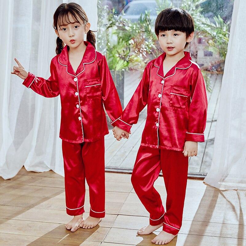Pijamas para niñas, Otoño Invierno 2019, ropa de dormir de manga larga para niños, conjunto de pijamas de seda, conjuntos de pijamas para niños, conjunto de chándal para niños