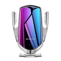r1 automatic clamping qi car wireless charger for iphone 11 pro x xs max infrared induction fast charger stand car phone holder