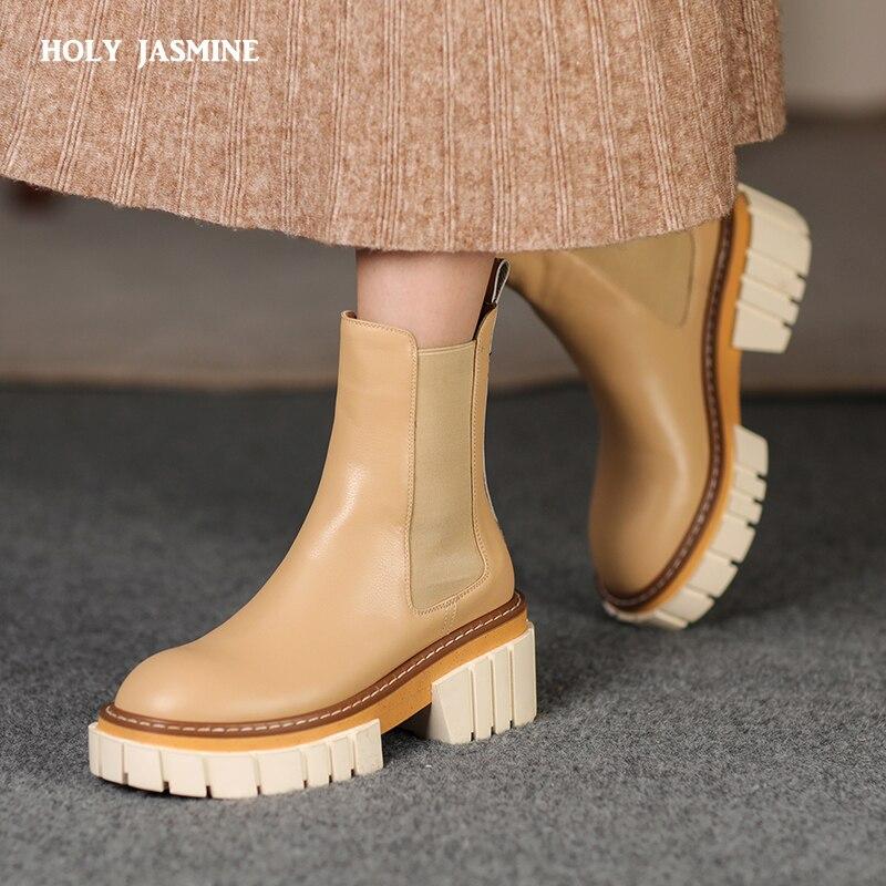 جلد طبيعي منصة النساء تشيلسي الأحذية سميكة أسفل الجوارب قصيرة منصة الشتاء أحذية جديدة امرأة الانزلاق على دراجة نارية الأحذية
