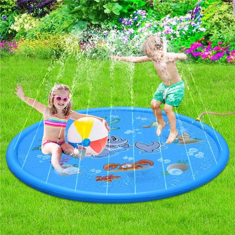 Cojín inflable para Agua pulverizada de piscinas de 170cm juguetes de verano alfombrilla para el agua, juegos de césped juguetes de aspersores bañera para exteriores piscina infantil piscinas desmomtables Tiburón grand