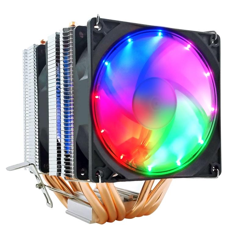CPU Cooler 4 pines PWM Pure 6 tubos de cobre Azul Rojo colorido trabajo silencioso para Intel Lga2011-2066-X99-X299 CPU ventilador de refrigeración