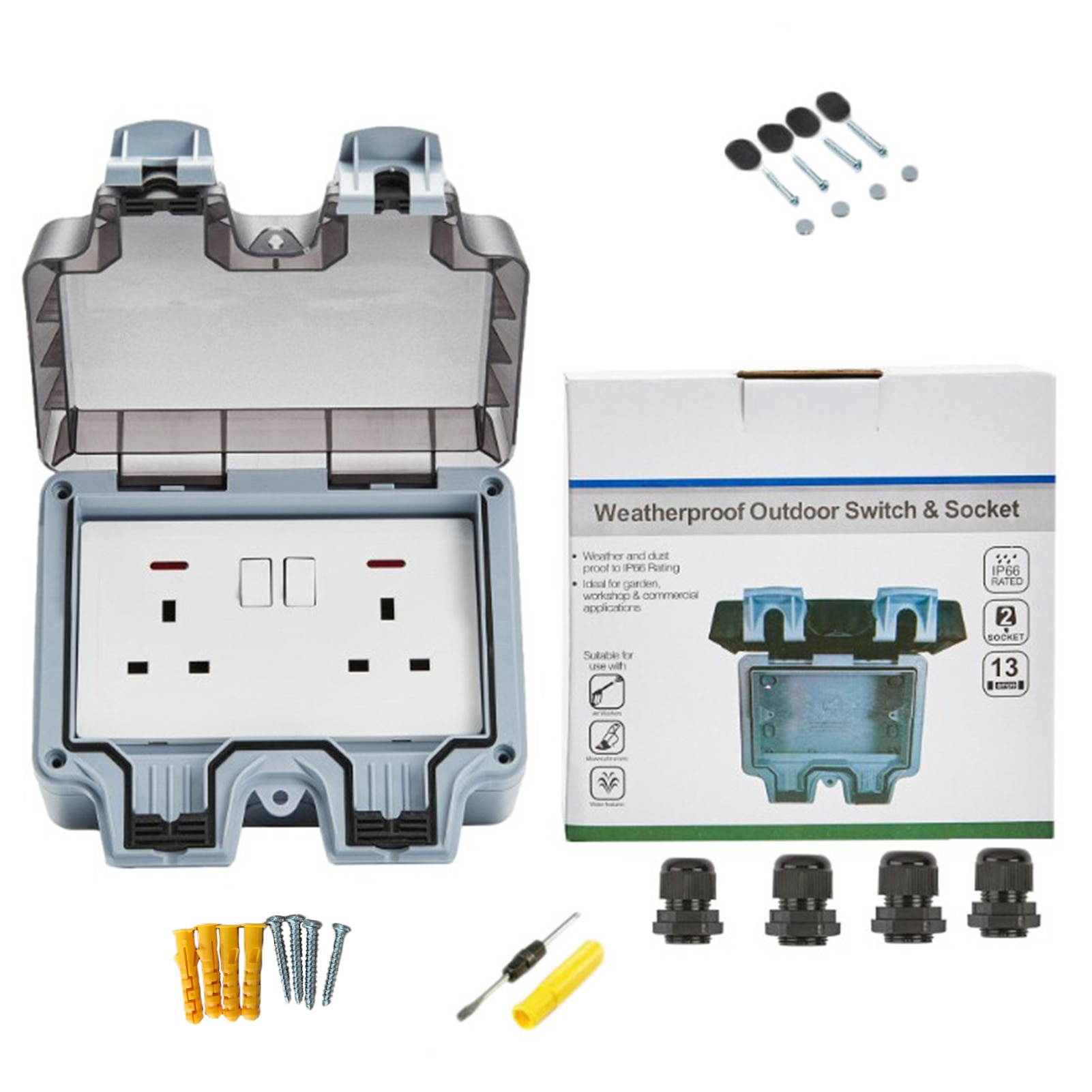 220V-250V Waterproof Socket IP66 Dust-proof UK Regulation Outlet Indoor Wall Power Socket For Outdoor Garden Garage