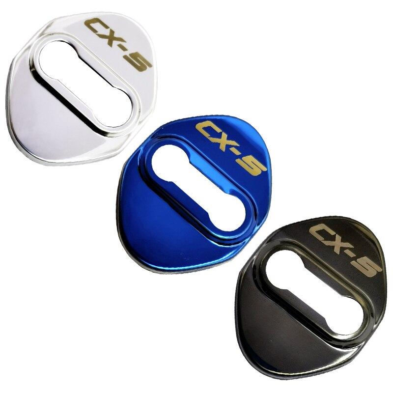 4 Uds hebilla de bloqueo de puerta de coche pestillo de cubierta tope Anti óxido cubierta de cerradura de puerta cubierta de hebilla de protección para Mazda CX5 CX-5 2013-2020 accesorio