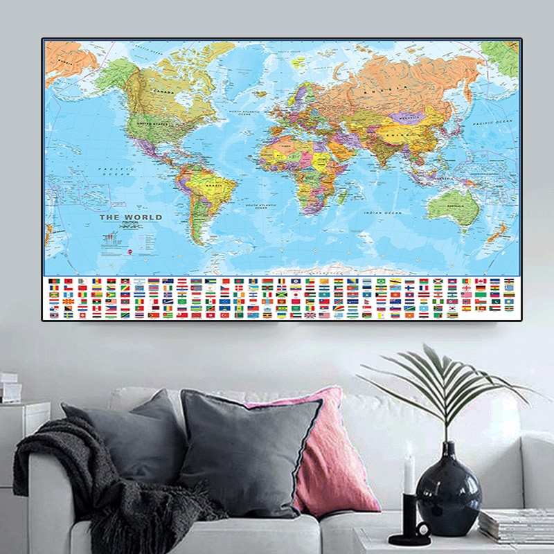 The World Political Map 150x225cm Non-woven Canvas Painting with Flags Large Poster for Culture Education Home Decoration